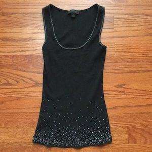 Silver Studded Express Ribbed Tank Top